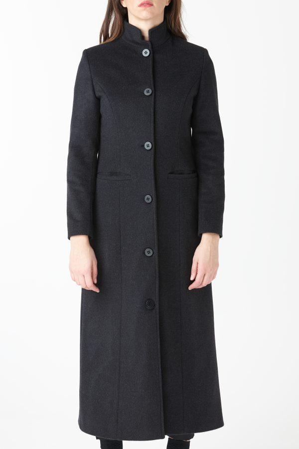 cappotto monopetto coreano antracite donna amcouture