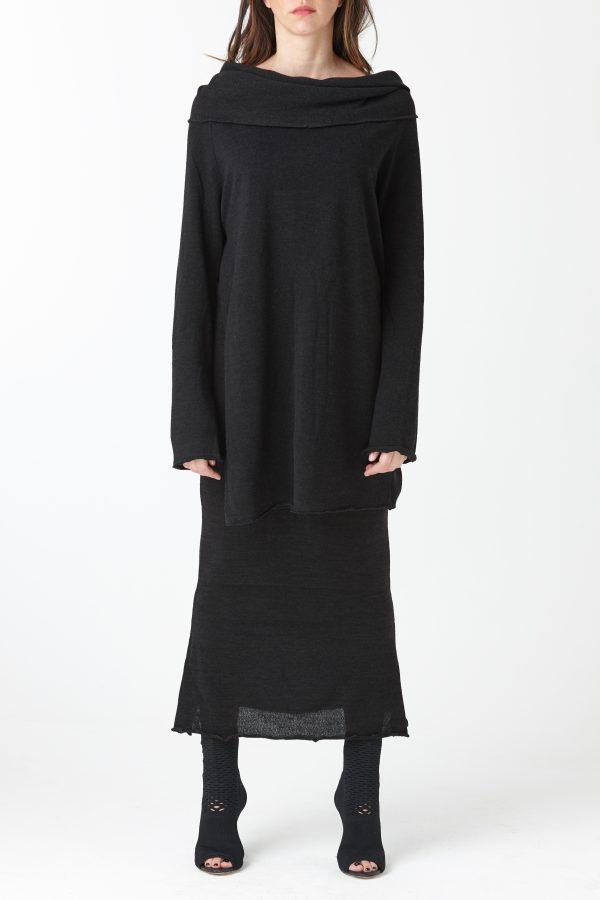 maglia collo ciambella maglina nera amcouture