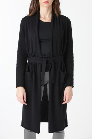 cardigan long black woman amcouture