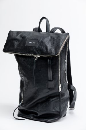backpack big black leather amcouture