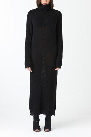 abito maglie larghe lana nera amcouture