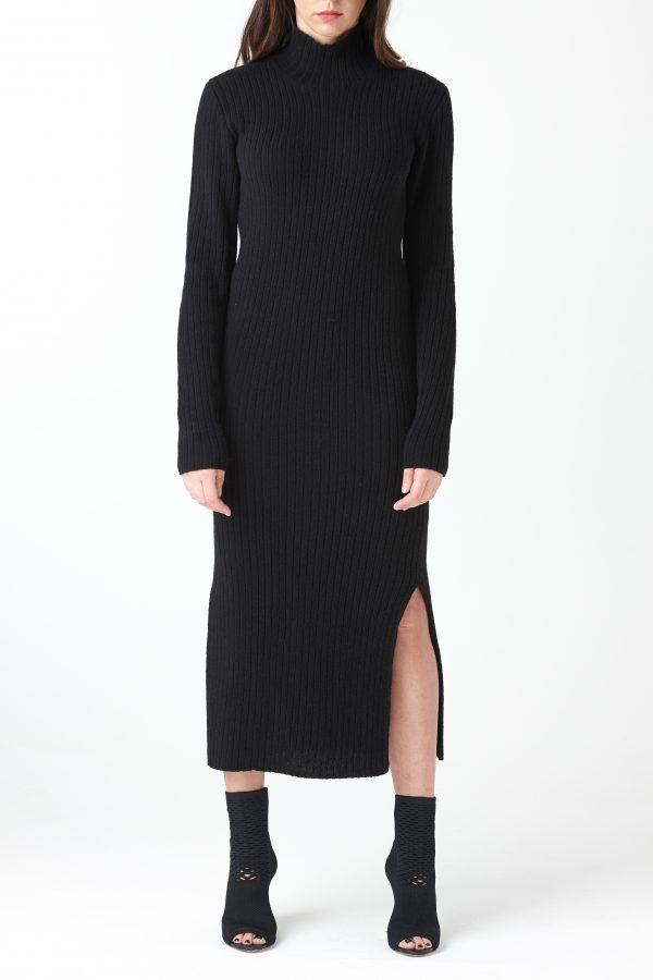 abito coste spacchi lana nera amcouture