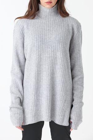maxi maglione coste spacchi lana grigia amcouture