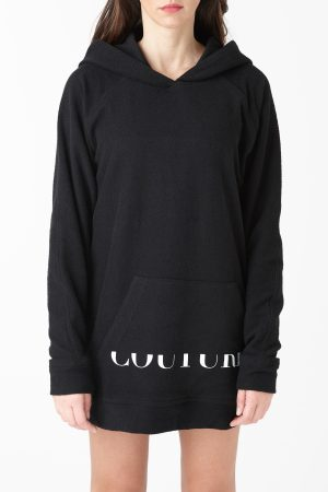 maxi sweatshirt black logo woman amcouture