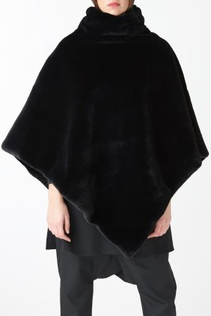 poncho fur black woman amcouture