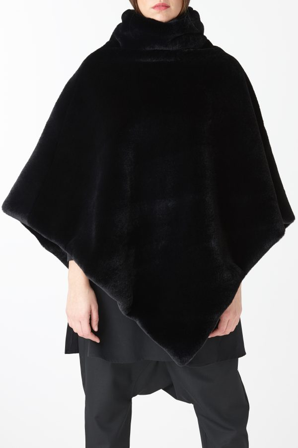 poncho pelliccia nero donna amcouture