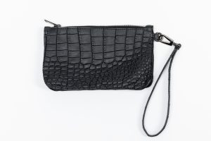 Achesy Black Leather Coconut Clutch