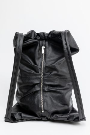 zaino borsa pelle nera amcouture