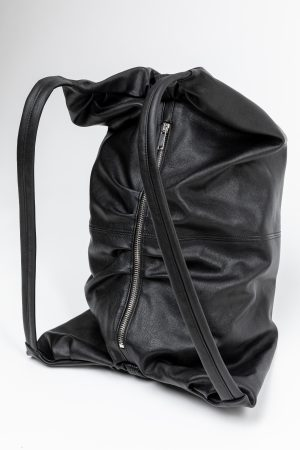 backpack bag black leather amcouture