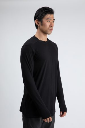 T-shirt shoulder down long sleeve black amcouture