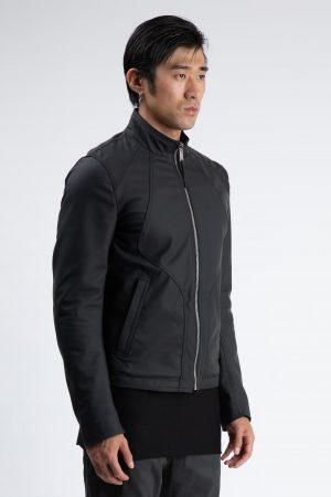 biker black rubber leather amcouture