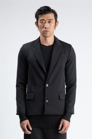 Single-breasted jacket neck throws black man amcouture
