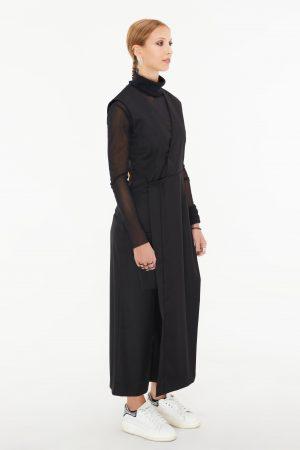 abito incrociato nera donna amcouture