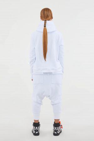 felpa logo cappuccio bianca donna amcouture