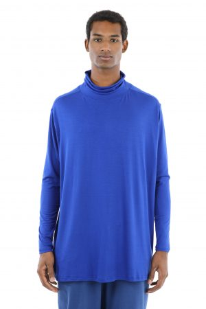 t-shirt collo alto blu uomo amcouture