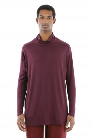 t-shirt collo alto bordeaux uomo amcouture