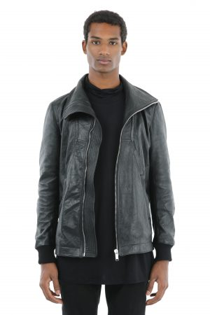 biker pelle collo alto nero amcouture